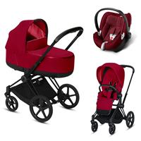 Cybex Priam Black Lux Kombikinderwagen True Red mit Babyschale
