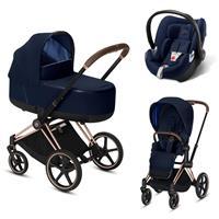 Cybex Priam Rosegold Lux Kombikinderwagen Indigo Blue mit Babyschale
