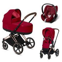Cybex Priam Rosegold Lux Kombikinderwagen True Red mit Babyschale