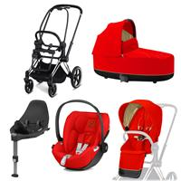 Cybex Kombikinderwagen-Set ePriam inkl. Babyschale Cloud Z + Base Z Chrome Black / Autumn Gold