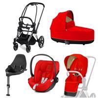 Cybex Priam Kinderwagen Set Chrome Schwarz, Babywanne, Babyschale Cloud Z + Base Z Autumn Gold