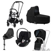 Cybex Priam Kinderwagen Set Chrome Schwarz, Babywanne, Babyschale Cloud Z + Base Z Deep Black