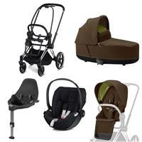 Cybex Priam Kinderwagen Set Chrome Schwarz, Babywanne, Babyschale Cloud Z + Base Z Khaki Green