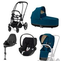 Cybex Priam Kinderwagen Set Chrome Schwarz, Babywanne, Babyschale Cloud Z + Base Z Mountain Blue
