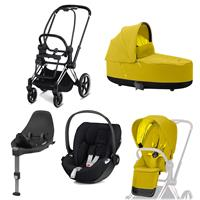 Cybex Priam stroller Set Chrome Schwarz, carry cot, infant carrier Cloud Z + Base Z Mustard Yellow