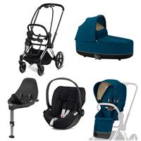 Cybex Kombikinderwagen-Set ePriam inkl. Babyschale Cloud Z + Base Z Chrome Black / Nautical Blue