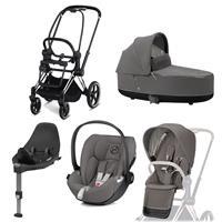 Cybex Priam Kinderwagen Set Chrome Schwarz, Babywanne, Babyschale Cloud Z + Base Z Soho Grey