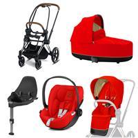 Cybex Priam Kinderwagen Set Chrome Brown, Babywanne, Babyschale Cloud Z + Base Z Autumn Gold