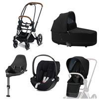 Cybex Priam Kinderwagen Set Chrome Brown, Babywanne, Babyschale Cloud Z + Base Z Deep Black