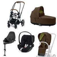 Cybex Priam Kinderwagen Set Chrome Brown, Babywanne, Babyschale Cloud Z + Base Z Khaki Green