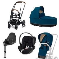 Cybex Priam Kinderwagen Set Chrome Brown, Babywanne, Babyschale Cloud Z + Base Z Mountain Blue