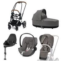 Cybex Priam Kinderwagen Set Chrome Brown, Babywanne, Babyschale Cloud Z + Base Z Soho Grey