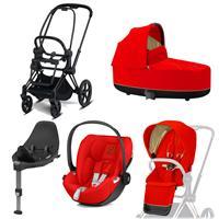 Cybex Priam Kinderwagen Set Matt Black, Babywanne, Babyschale Cloud Z + Base Z Autumn Gold
