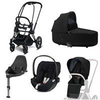 Cybex Priam Kinderwagen Set Matt Black, Babywanne, Babyschale Cloud Z + Base Z Deep Black