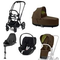 Cybex Kombikinderwagen-Set ePriam inkl. Babyschale Cloud Z + Base Z Matt Black / Khaki Green