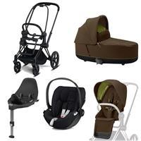 Cybex Priam Kinderwagen Set Matt Black, Babywanne, Babyschale Cloud Z + Base Z Khaki Green