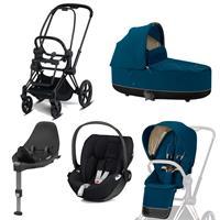 Cybex Priam Kinderwagen Set Matt Black, Babywanne, Babyschale Cloud Z + Base Z Mountain Blue