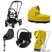 Cybex Priam Kinderwagen Set Matt Black, Babywanne, Babyschale Cloud Z + Base Z Mustard Yellow