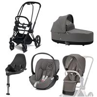 Cybex Kombikinderwagen-Set ePriam inkl. Babyschale Cloud Z + Base Z Matt Black / Soho Grey