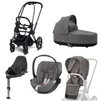 Cybex Priam Kinderwagen Set Matt Black, Babywanne, Babyschale Cloud Z + Base Z Soho Grey