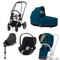 Cybex Priam Kinderwagen Set Rosegold, Babywanne, Babyschale Cloud Z + Base Z Mountain Blue
