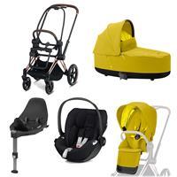 Cybex Priam Kinderwagen Set Rosegold, Babywanne, Babyschale Cloud Z + Base Z Mustard Yellow