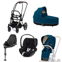 Cybex Kombikinderwagen-Set ePriam inkl. Babyschale Cloud Z + Base Z Rosegold / Nautical Blue