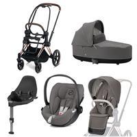 Cybex Priam stroller Set Rosegold, carry cot, infant carrier Cloud Z + Base Z Soho Grey