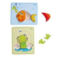 Haba Holzpuzzle Frosch & Fisch Detailansicht 01