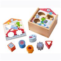 Haba toy sorting box off to the workshop