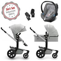 Joolz Day 3 Kinderwagen Set 3in1 Quadro Grigio mit Gratis Aton5 Babyschale
