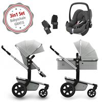 Joolz Day 3 Kinderwagen Set 3in1 Quadro Grigio mit Gratis Pebble Babyschale