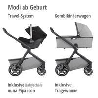 Verwendung des Demi grow Kinderwagen mit Babyschale & Tragewanne