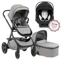 Nuna Erstausstattungs-Bundle Demi grow Kinderwagen Frost & kostenlose Babyschale Pipa icon Caviar