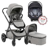 Nuna Erstausstattungs-Bundle Demi grow Kinderwagen Frost & kostenlose Babyschale Pipa icon Jett