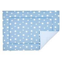 Odenwälder 7179 Jersey-Wende-Krabbeldecke 100/135 white stars sky blue