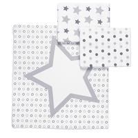 Odenwälder Moltontuch Sterne Tupfen Kreise 3er Pack 80x80cm