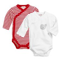 Schnizler Wrap Baby Bodysuit Long Sleeve 2-Pack Whale red/white 62