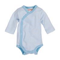 Schnizler Wickel-Baby-Body Langarm Ringel weiß/bleu Gr. 44