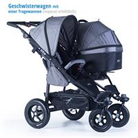 tfk geschwister zwillings wagen twinner lite design 2016 grau with one infant carrier Detail Ansicht