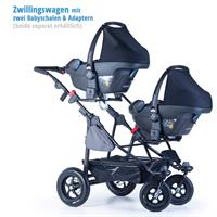 tfk geschwister zwillings wagen twinner lite design 2016 grau with infant carrier Detail 05