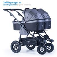 tfk geschwister zwillings wagen twinner lite design 2016 grau with two carrycots Ausschnitt 04