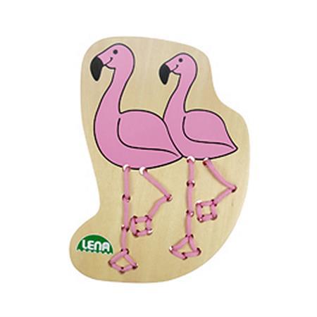 LENA Fädelbilder Zootiere Flamingo
