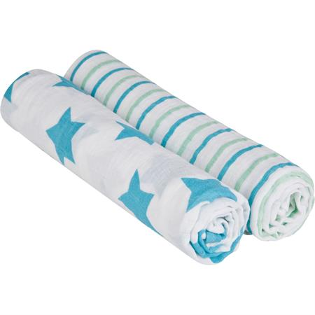 Lässig 4Kids XL Mulltuch 120x120 cm 2er Set Stars & Stripes Boys