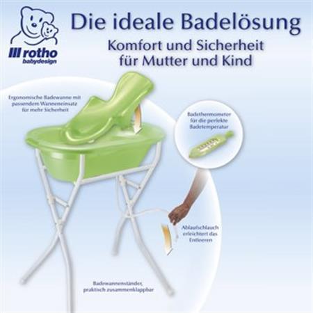 rotho TOP Pflegeset 5-teilig mit Babybadewanne, Ba Lindgrün