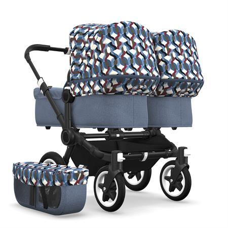 bugaboo Zwillingswagen Donkey 2 Twin Schwarz Blau Meliert