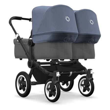 bugaboo Zwillingswagen Donkey 2 Twin Schwarz Grau Meliert/Blau Meliert