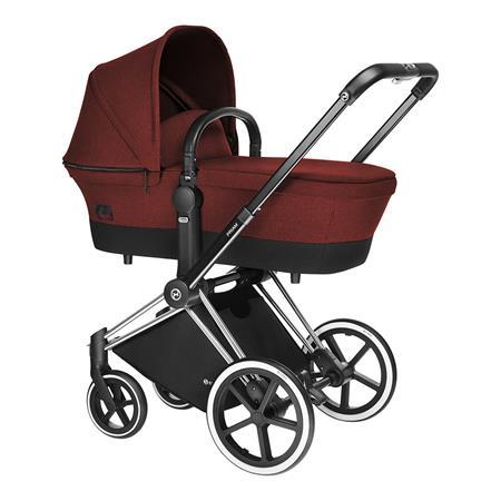 Cybex Priam Kinderwagen-Set: Chrome-Gestell, Lux Sportsitz und Kinderwagenaufsatz Mars Red