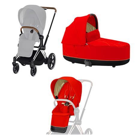 Cybex ePriam-Kinderwagenset Rahmen Chrome Brown, Seat Pack, Lux Carrycot Autumn Gold