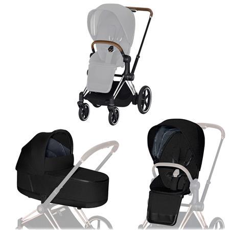Cybex ePriam-Kinderwagenset Rahmen Chrome Brown, Seat Pack, Lux Carrycot Stardust Black Plus